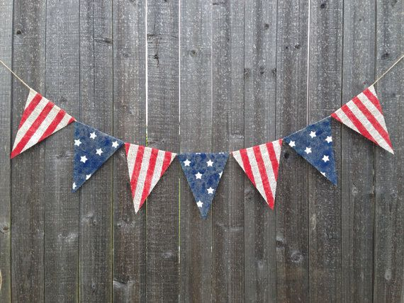 4th of July American Flag Burlap Banner by PatrioticByDesign, $24.00