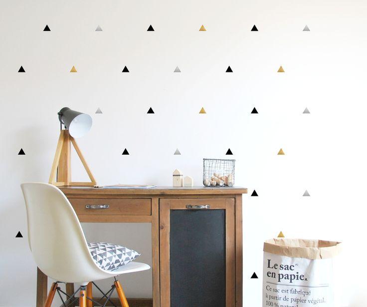 Muursticker driehoekjes zwart/zilver/goud