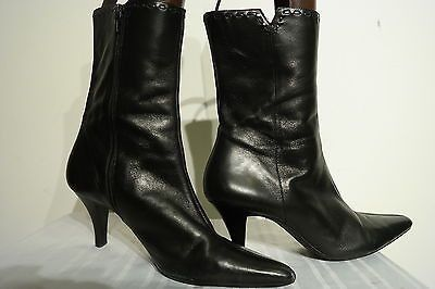 M. PATRICK WOMEN'S BLACK LEATHER HIGH HEEL SIDE ZIP UP ANKLE BOOTS SIZE 9.5