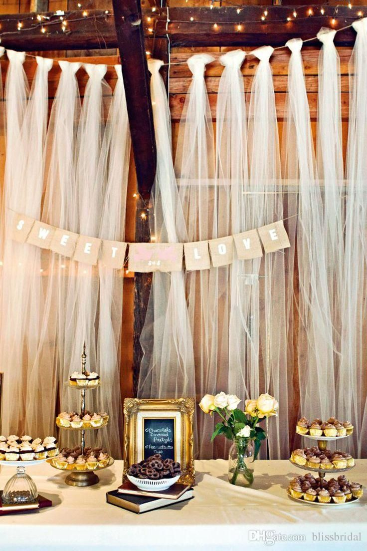 Easy diy tulle buffet backdrop wedding decoration diy for Background decoration for wedding