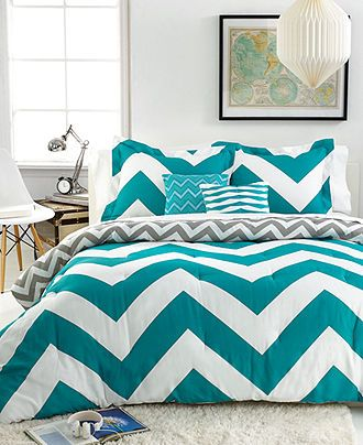 chevron teal 5 piece comforter sets bed in a bag bed bath macy 39 s super cute if i can get. Black Bedroom Furniture Sets. Home Design Ideas