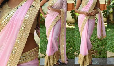 NEW LATEST BABY PINK COLOR 60GM GEORGET EMBROIDERY WORK SAREE Bollywood Sarees Online on Shimply.com