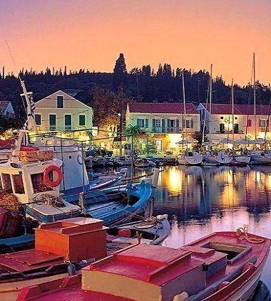 Greece Travel Inspiration - Dusk colors of Fiskardo, Kefalonia Island, Greece