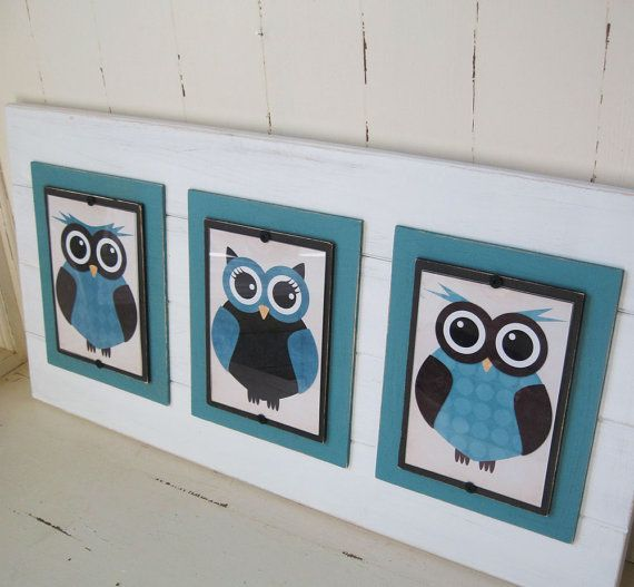 Framed 5x7 Turquoise and Brown Owl Prints In A by ProjectCottage, $89.95