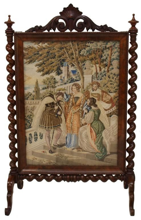 french fire screen | 243: EXTRAORDINARY FRENCH TAPESTRY FIRE SCREEN : Lot 243