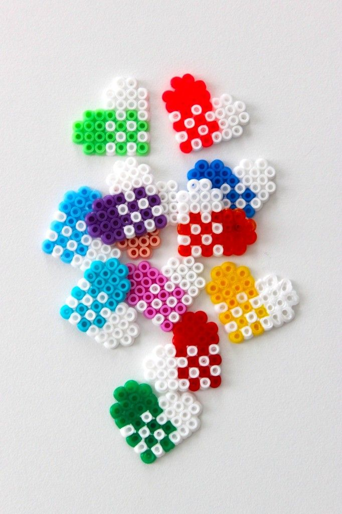 DIY Christmas heart gift tags hama mini beads