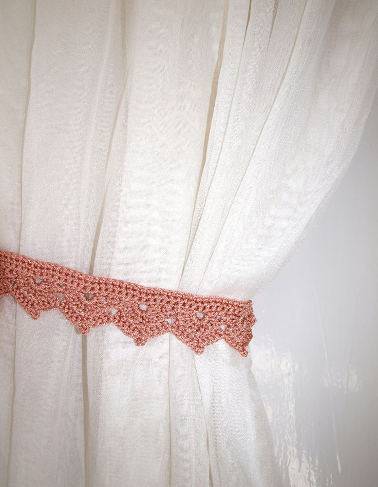 Curtain ties crochet Beige window decor Curtain holders Curtain holdbacks Curtain hold backs Curtain tiebacks Drapery Living room decor by CrochetedCosiness on Etsy
