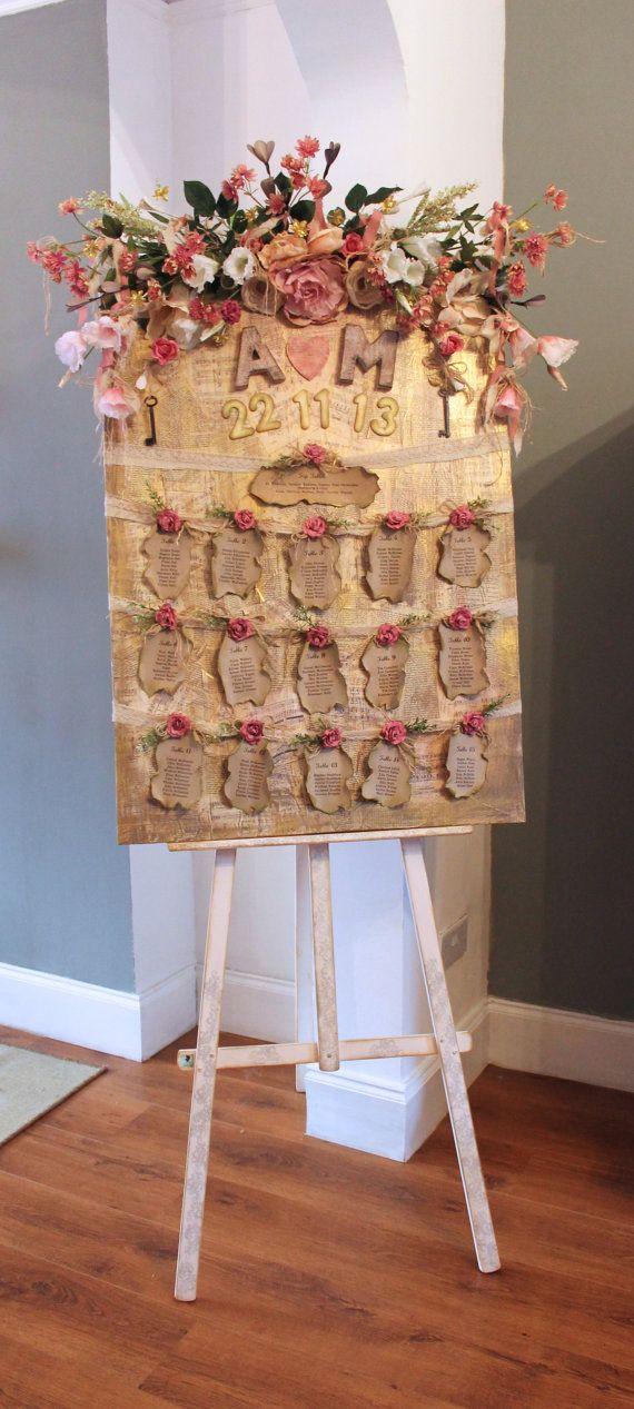 RESERVED for OLIVIA Wedding seating plan floral von LotusBluBookArt