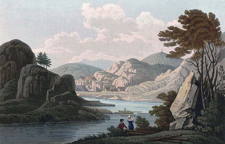 """Van soe, near Mos (JW Edy plate 69). English: """"Van soe, near Mos"""" Norsk bokmål: «Vansöe nær ved Moss» Drawing by John William Edy (1760-1820) from his journey along the coast of Norway during the summer of 1800. Published in Boydell's picturesque scenery of Norway in 1820."""