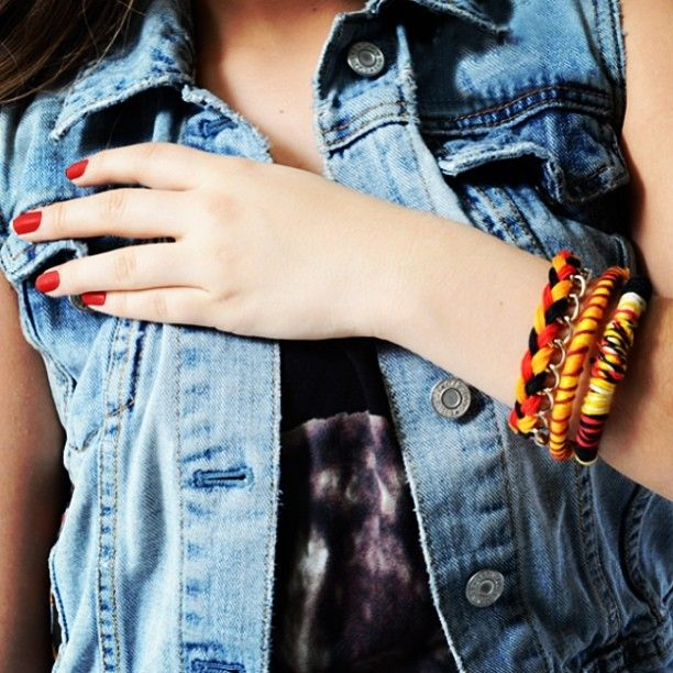 Denim and bracelets!!  Trendiy art activity kit braided bracelets and bangles