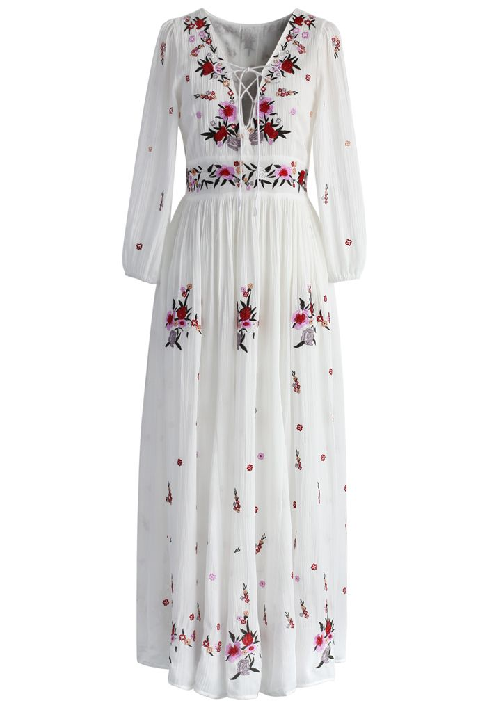 Wondrous Floral Embroidered Maxi Dress - New Arrivals - Retro, Indie and Unique Fashion