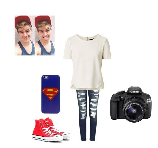 Making vines with Connor franta by maddielovesluke36 on Polyvore featuring polyvore, fashion, style, Current/Elliott, Converse and Eos