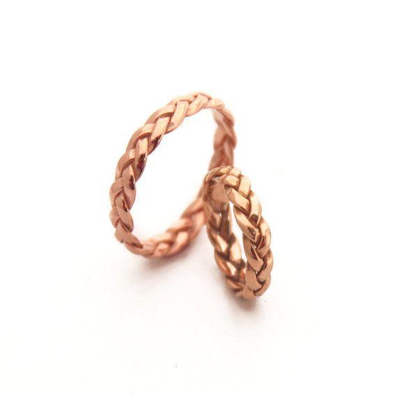 Braided Solid Yellow Gold Wedding Ring Alternative by MayaMor