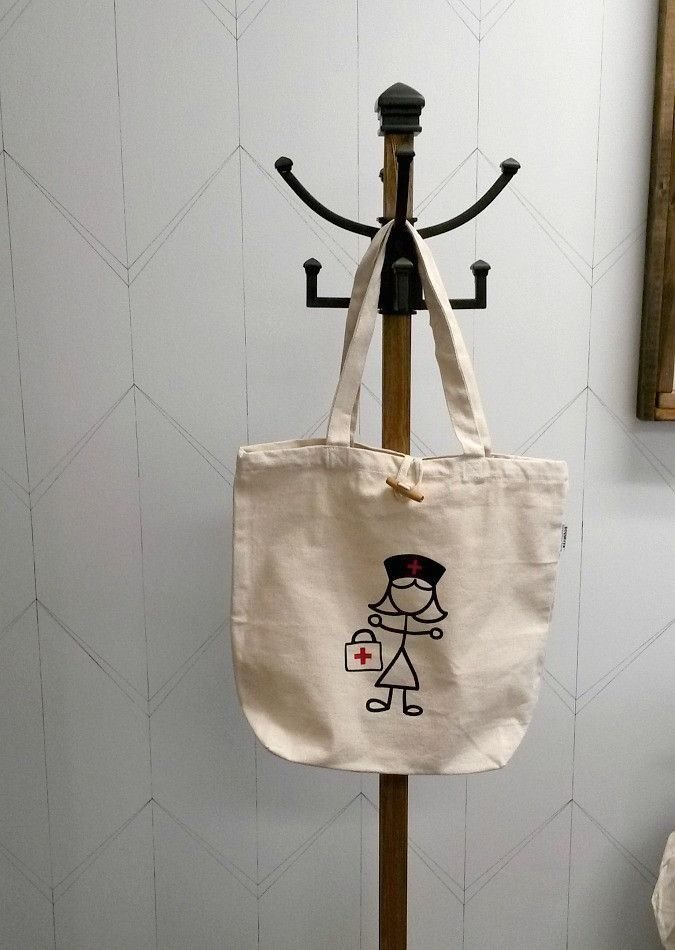 Recycled Cotton Tote Bag - Nurse - Netties Expressions | Cotton tote bag customized with heat transfer vinyl designed and created by Netties Expressions |  © 2017 Netties Expressions | https://www.nettiesexpressions.com