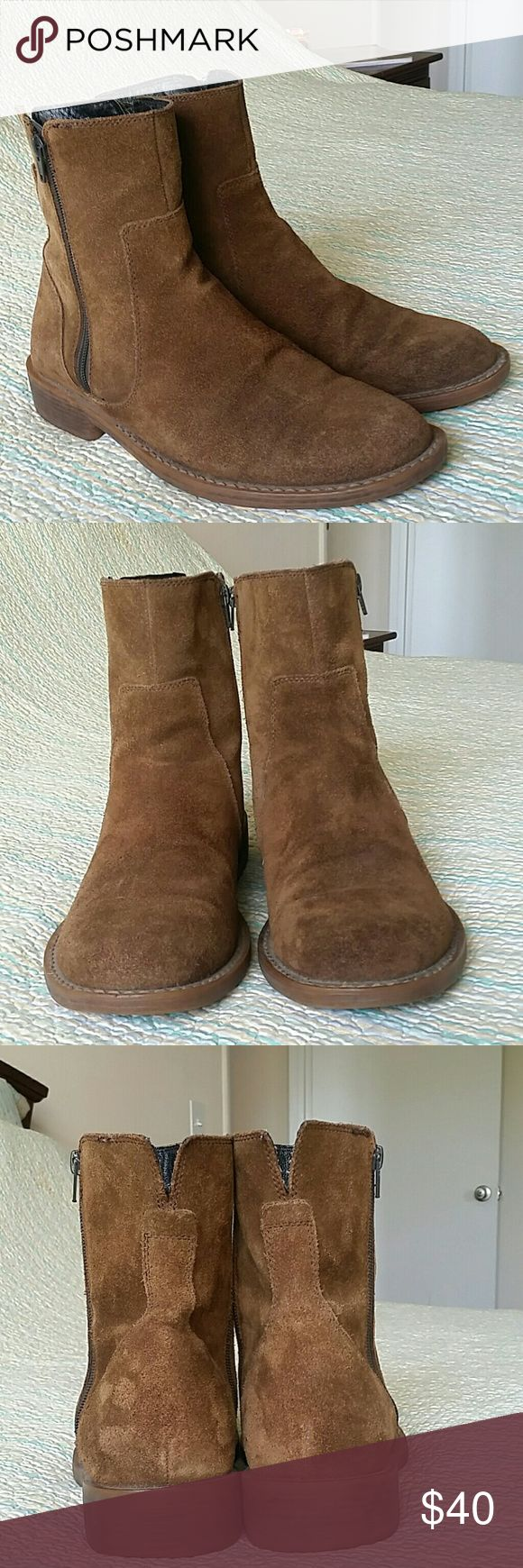 Banana Republic Sz 10 Brown Suede Leather Boots Banana Republic Mens Sz 10 Brown Suede Leather Pull On Ankle Boots Zipper Shoes Banana Republic Shoes Boots