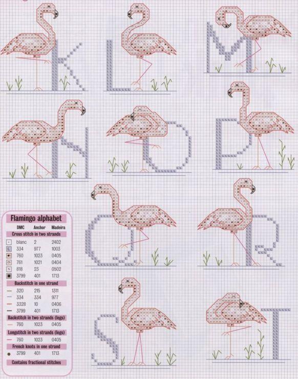 pink flamingo alphabet for cross stitch #2