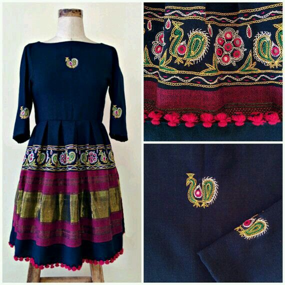 Rabari - kutch embroidered cotton dress in closed boatneck. ..love it!