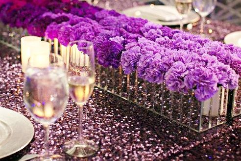 Sequin Plum Purple Tablecloth Overlay Various by DESIGNERSHINDIGS, $50.00