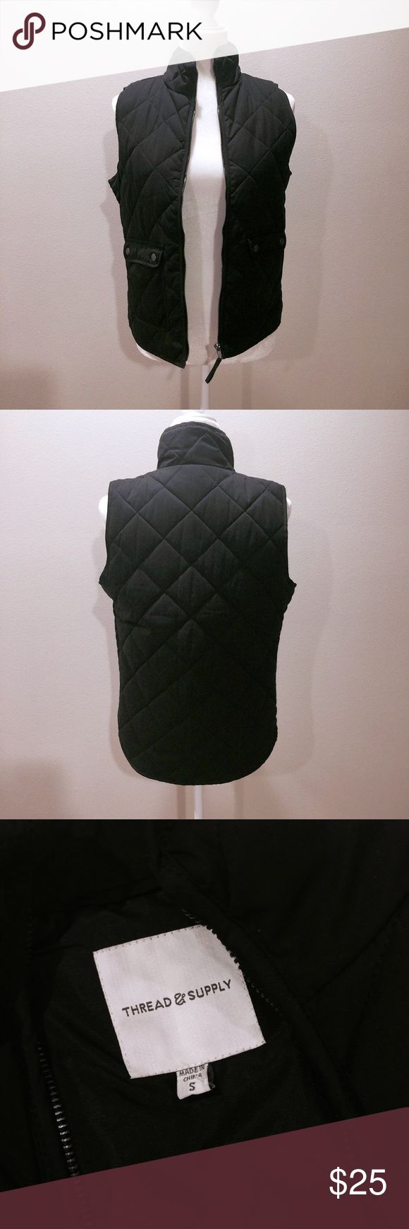 NWOT 'Thread & Supply' Quilted Vest NWOT black quilted vest. Lined. Front snap-flap pockets. Layer your favorite hoody or flannel under. Perfect transitional piece. Jackets & Coats Vests