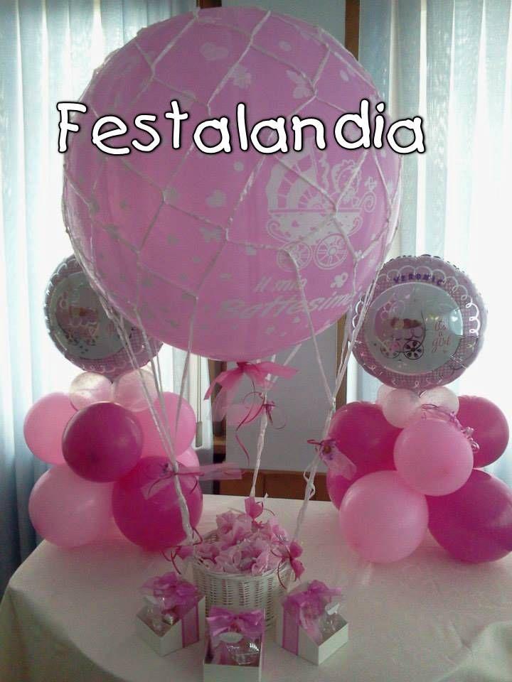 pallone mongolfiera con cesto porta bomboniere con piccoli centrotavola