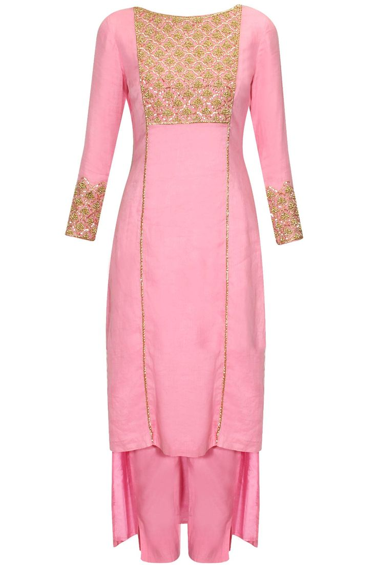 Pink floral embroidered jaal kurta and cigarette pants set