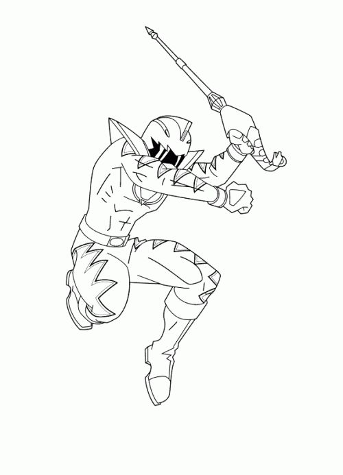 power rangers dino thunder jump while you remove the sword coloring page