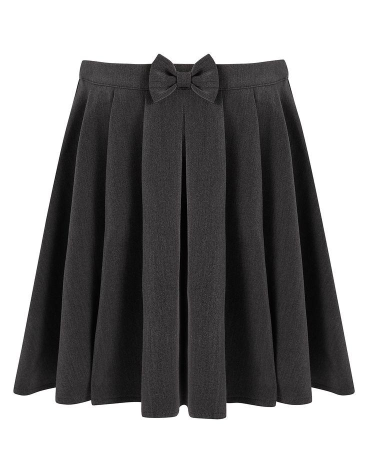 Girls School Bow Detail Skater Skirt - Grey | School | George at ASDA