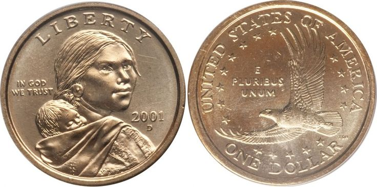 """2001 D Sacagawea Dollar Value is $1 circulated coins. If the coin is uncirculated and not certified they're worth $1.25 to $2. If graded MS67 by either PCGS or NGC they're worth $20 and in MS68 they're worth $175. Sacagawea and Native American dollars are called """"golden"""" but they're not made of gold; their alloy …"""