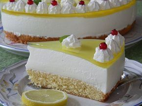 Geheime Rezepte: Einfache Zitronen - Joghurt - Torte (sehr erfrischend, für 12 Stücke)