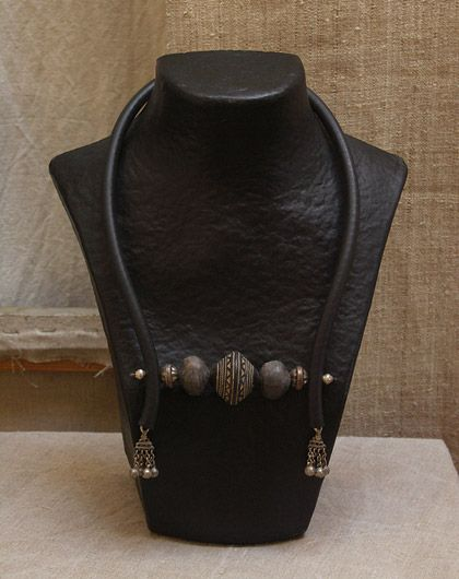 ethnic and beaded necklace  terra-cotta from Mali & exotic seed & silver