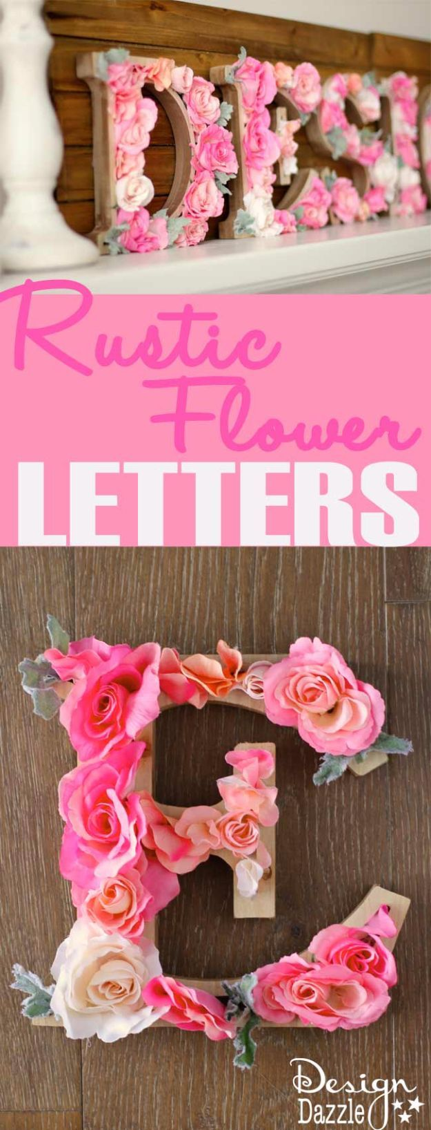 DIY Wall Letters and Word Signs - DIY Rustic Letters With Flowers - Initials Wall Art for Creative Home Decor Ideas - Cool Architectural Letter Projects and Wall Art Tutorials for Living Room Decor, Bedroom Ideas. Girl or Boy Nursery. Paint, Glitter, String Art, Easy Cardboard and Rustic Wooden Ideas - DIY Projects and Crafts by DIY JOY http://diyjoy.com/diy-letter-word-signs