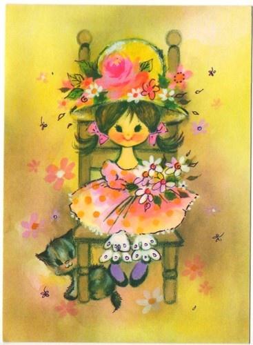 Mod Cute Girl Cat | Kids | Pinterest | Vintage greeting ...