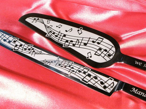 Music Note Themed Wedding | Music Themed Wedding Cake Server and Knife Set, Engraved