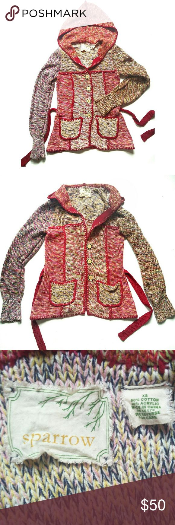 ANTHRO Sparrow Multicolor Hooded Cardigan sz. XS Awesome Multicolored Patchwork design Knit Hooded Cardigan by Anthropologie Sparrow  sz. XS (would fit sz Small 0-2 well) EXCELLENT PRE-OWNED CONDITION  2 pockets  Belt Large decorative buttons   SMOKE AND PETS FREE HOUSE  WILL SHIP WITHIN 24 HOURS FROM CLEARED PAYMENT Anthropologie Sweaters Cardigans