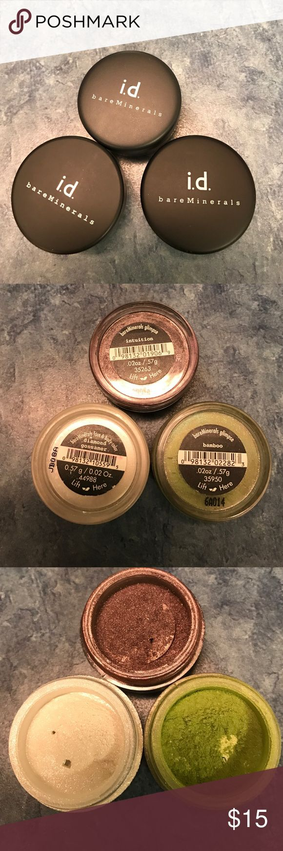 Bare Minerals Eye Shadows(set of 3) Each one used just a few times. I went crazy getting new colors and got way too many !!  Colts are -Intuition, bamboo, and diamond gossamer bare Minerals Accessories