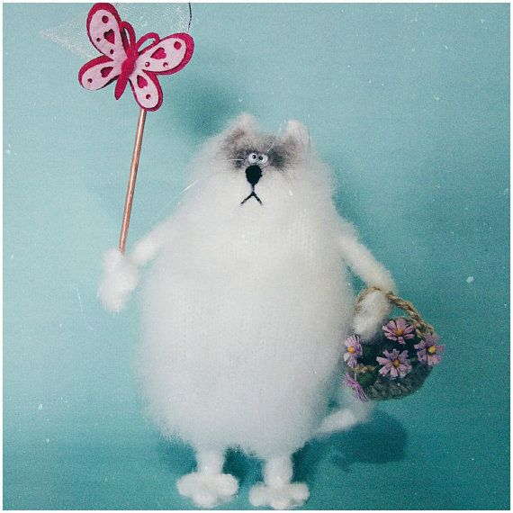 Fluffy cat Spring is coming от WhatMyToy на Etsy