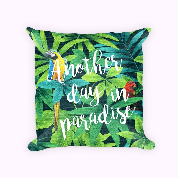 Parrot Pillow Cover, Tropical Throw Pillow,  Tropical decor, Leaves pillow, Beach house decor, Tropical Cushion by JulianaDaCostaDesign on Etsy