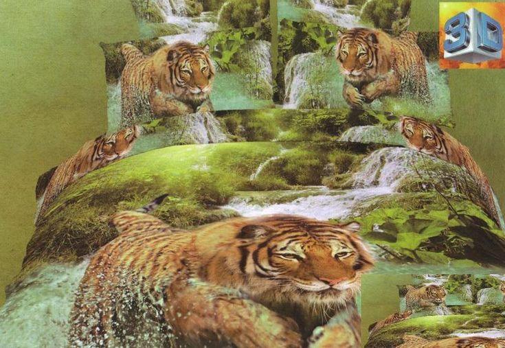 Zelené bavlněné ložní povlečení s tygrem