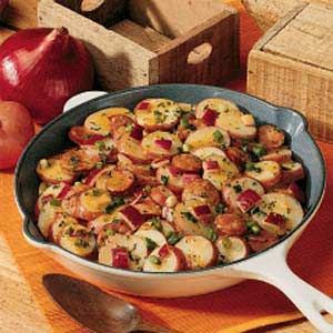 Cajun Potato Salad Recipe -I have been making this mouthwatering potato salad for about 10 years. My family likes spicy foods, and thanks to a son living in New Orleans, we have a constant supply of Cajun sausage for this recipe. Made with extra sausage, it's a filling one-dish meal.—Margaret Scott, Murfreesboro, Tennessee