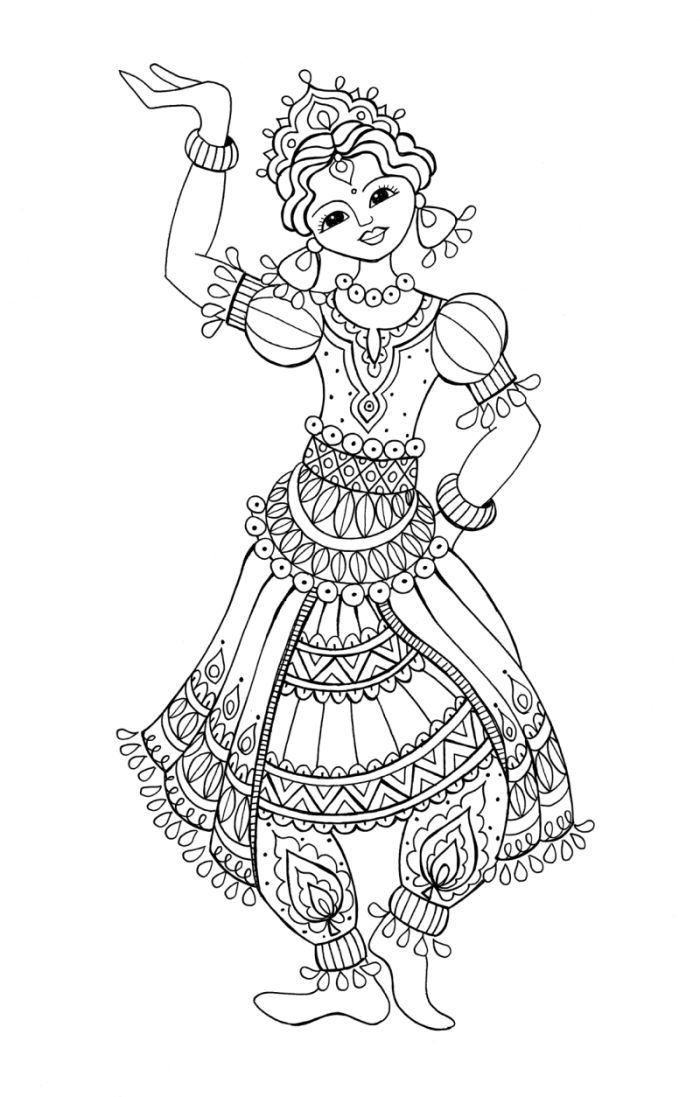 indian dancing girl colouring page