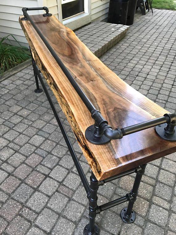 live edge black walnut sofa bar table in 2019 basement bar bars rh pinterest com