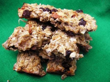 Muesli Bar Recipe: 1 mashed banana 1T peanut butter 1/4t cinnamon 1/4c sultanas 1c rolled oats 1/4c chopped almonds 1T honey 1/4c coco...