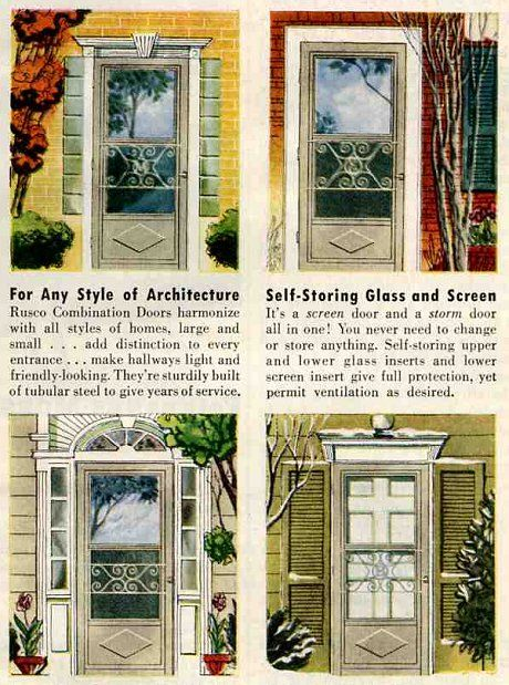 20 Interiors From 1952: The End Of The 1940s. Vintage Screen DoorsGarage ...