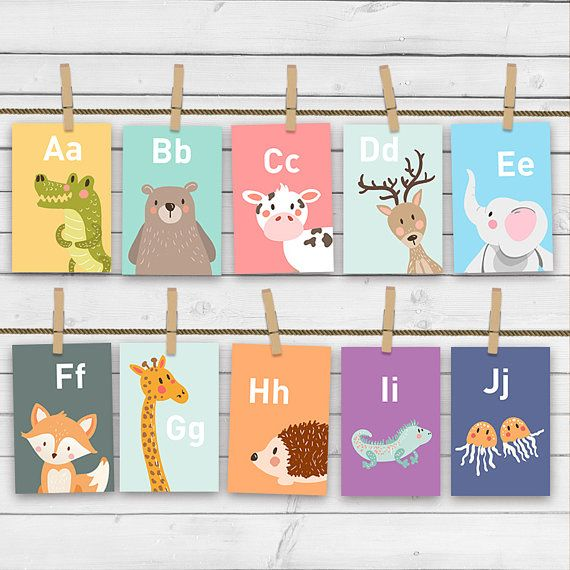 Animal alphabet card set Alphabet flash cards abc Nursery wall
