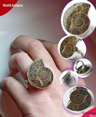 Vanyssa Bijuu - Bijuterii: Inel cu Melc Ammonit Fosil Natural Maiestuos (240 ...