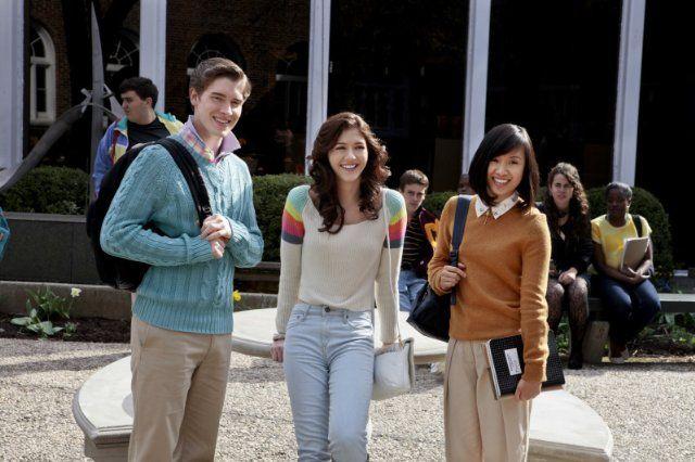 Still of Ellen Wong, Katie Findlay and Brendan Dooling in The Carrie Diaries