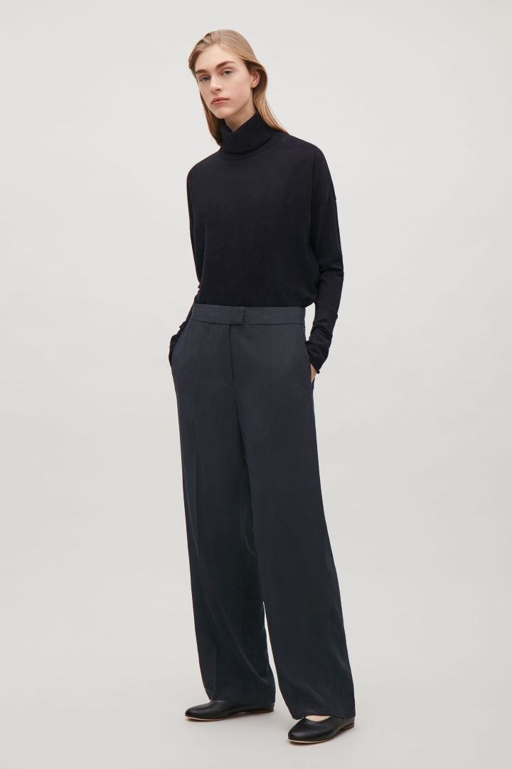 COS image 4 of Straight-leg silk trousers in Navy