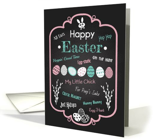 Trendy chalk Easter card with cute puns and phrases to get you into the Easter spirit. Perfect card to give someone this holiday season.  greetingcarduniverse.com/jjbdesigns   #greetingcard #greetingcarduniverse #greeting #card