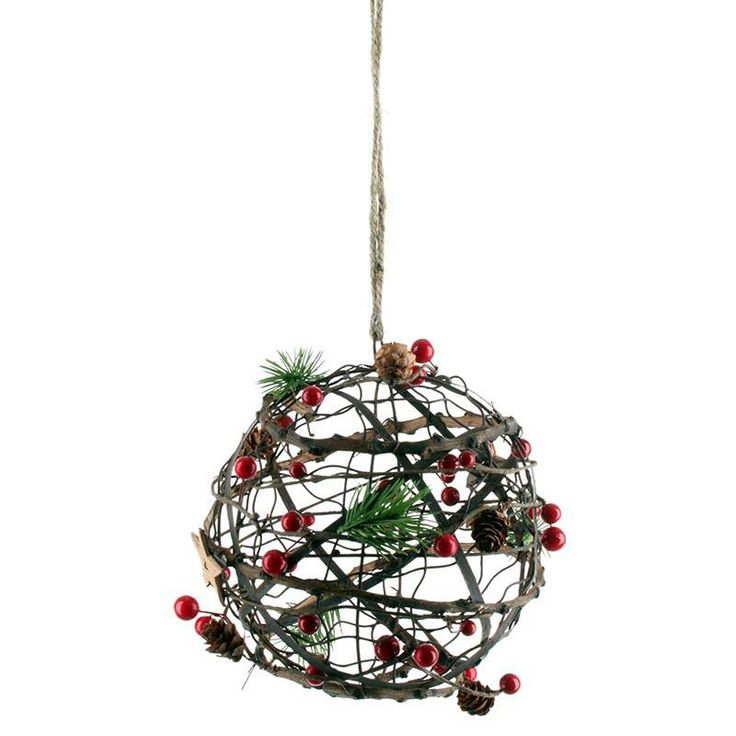 Decorative hanging #christmas ball with red berry! www.inart.com