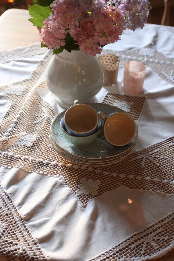 French Vintage Square Tablecloth with Lace Edging by Chezpetitpica, €20.00